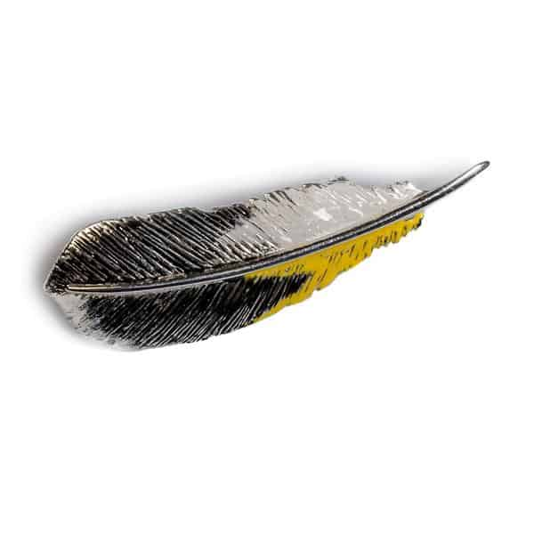 Silver Handpainted Goldfinch Feather Brooch