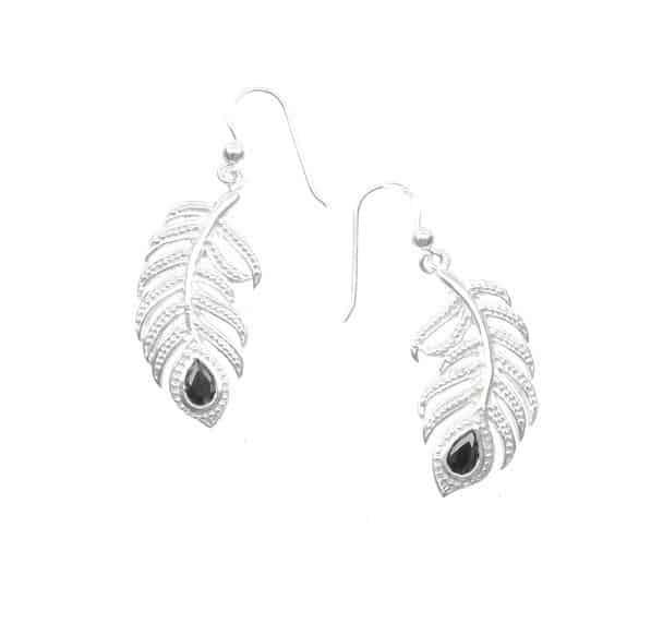 Silver drop feather earrings with black onyx 'eye'