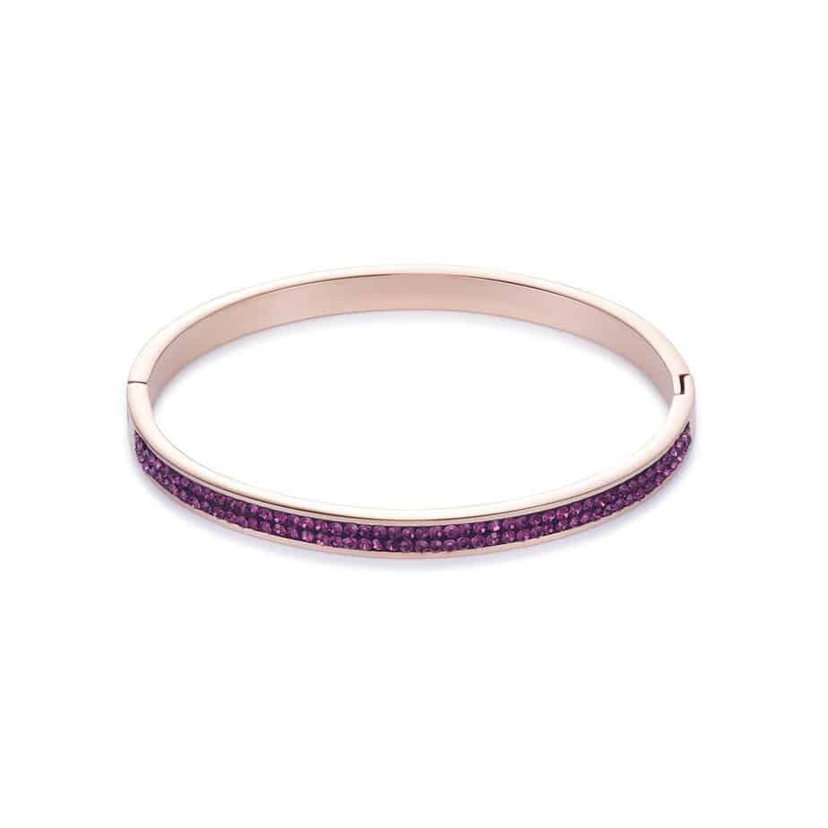 Purple Crystal Bangle with Rose Gold