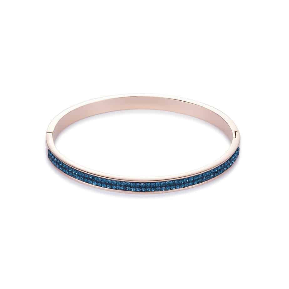 Blue Crystal Bangle with Rose Gold