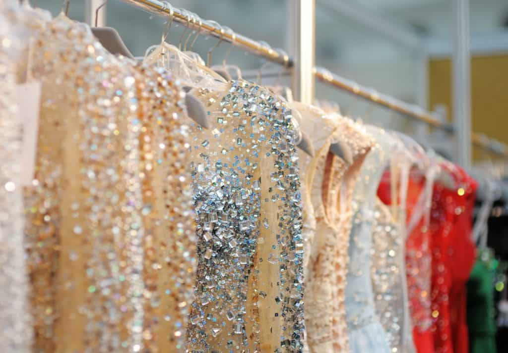 Rack of Prom dresses hanging