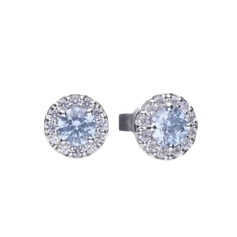 Silver stud earrings with blue central cubic zirconia, surrounded by a circle of sparkling white circonias