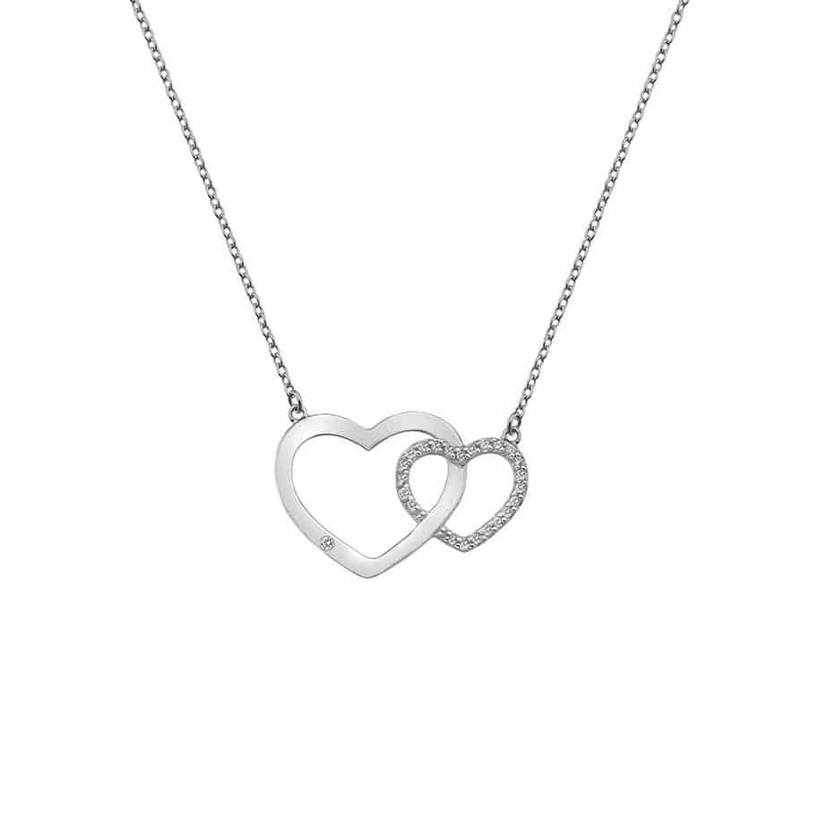 Hot Diamonds White Topaz Interlocking Hearts Bliss Necklace with Diamond