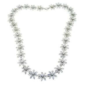 Silver and CZ Flower Necklace