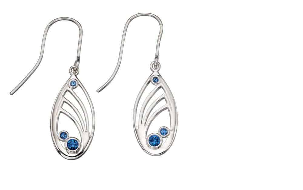 Silver Openwork Earrings with Blue Swarovski crystals