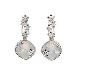 Silver Drop Earrings with Opal Swarovski Crystal