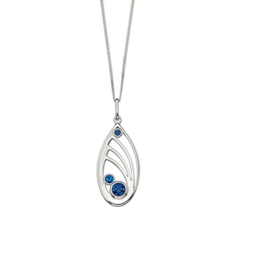 Silver Openwork Pendant with blue Swarovski crystals