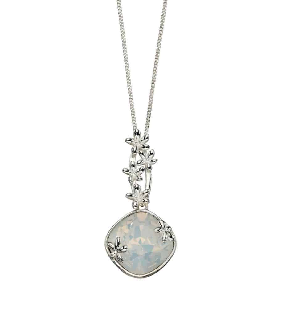 Silver Pendant with Opal Swarovski and Flowers