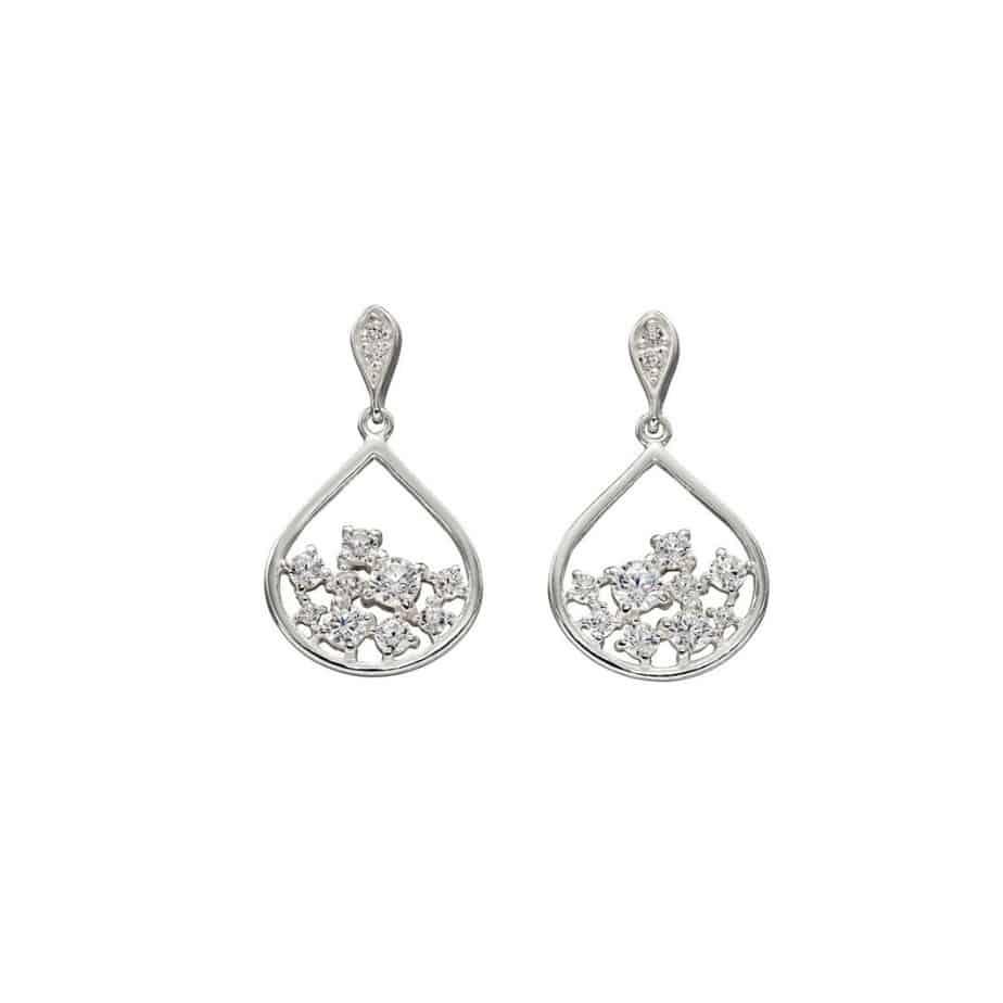 Silver Scattered CZ Teardrop Earrings