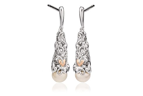 Clogau Welsh Gold Tree of Life Pearl Drop Earrings