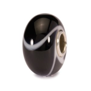 Trollbeads Glass bead for charm bracelet with black and white markings