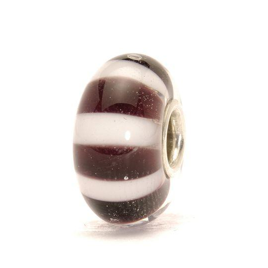 Trollbeads glass bead for modern charm bracelet with black and white stripes