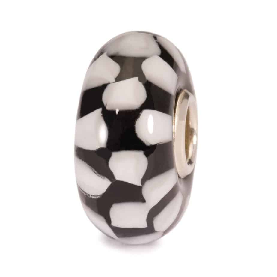 Trollbeads glass bead in black and white squares for modern charm bracelet