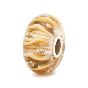 Trollbeads Glass Bead in yellows and soft white stripes with bubbles for a modern charm bracelet