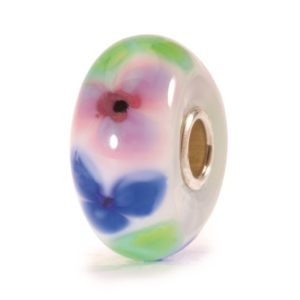 Trollbeads Glass Bead for charm bracelet with red, pink and blue flowers in the glass