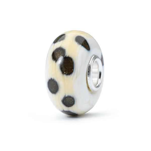 Trollbeads beige with brown spots Glass Bead for modern charm bracelet