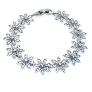 Silver bracelet with cubiz zirconia set flowers all the way around