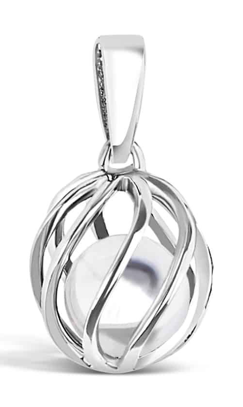 Spherical pendant of silver 'cage' with Aprils's birthstone White Topaz inside