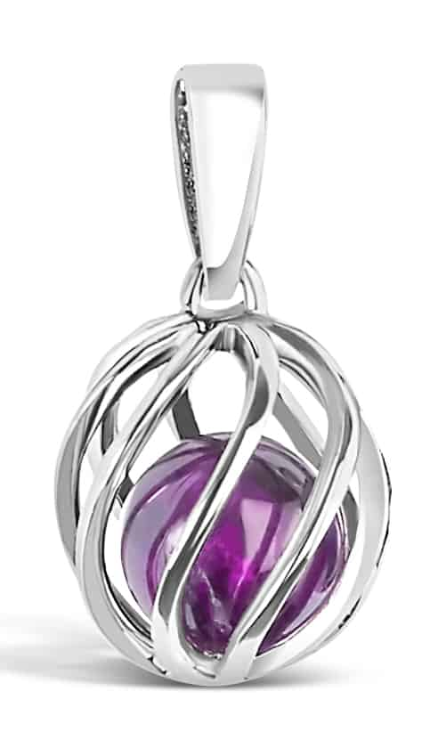 Spherical pendant of silver 'cage' with February's birthstone Amethyst inside