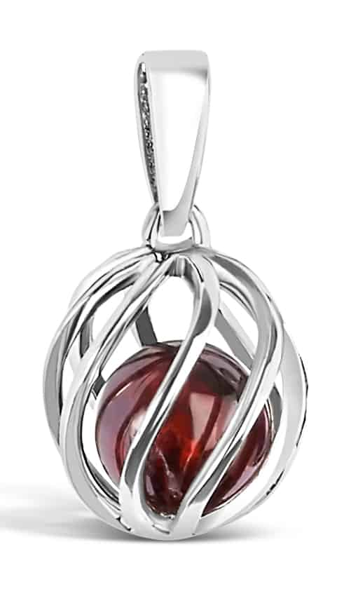 Spherical pendant of silver 'cage' with January's birthstone Garnet inside