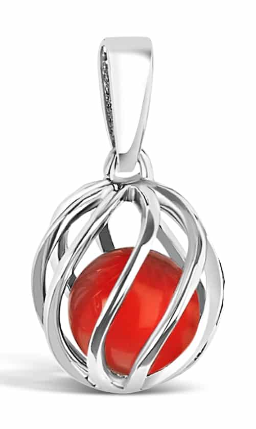 Spherical pendant of silver 'cage' with July's birthstone Carnelian inside