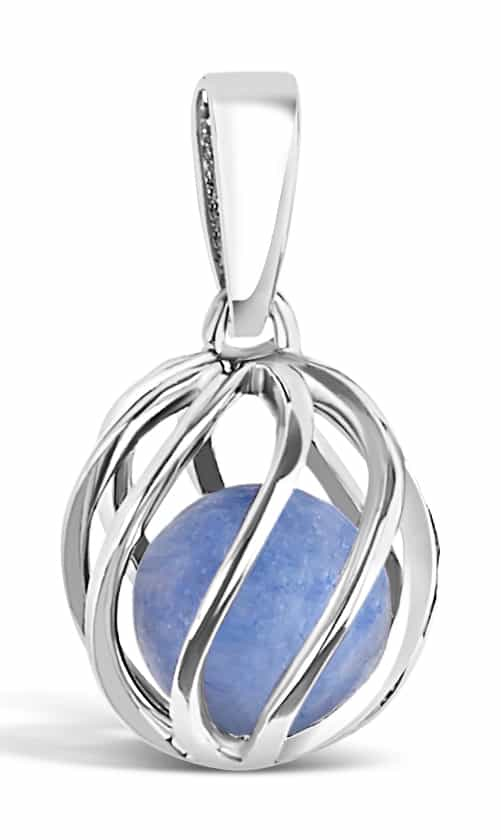 Spherical pendant of silver 'cage' with March's birthstone Blue Topaz inside