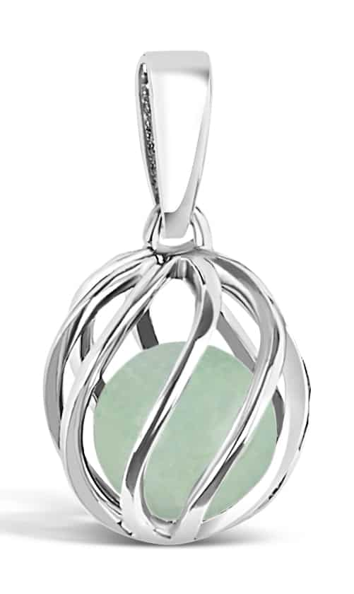 Spherical pendant of silver 'cage' with May's birthstone Jade inside