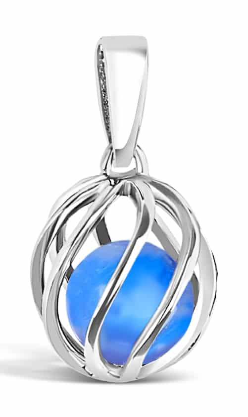 Spherical pendant of silver 'cage' with September's birthstone Blue Agate inside