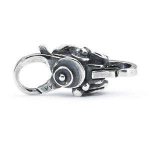 Silver lock for a modern charm bracelet with Water Lily shapes on the side