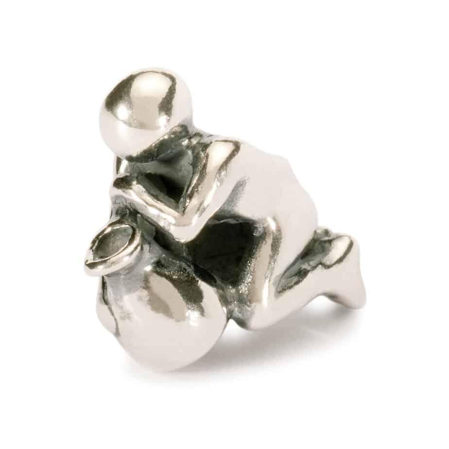 Trollbeads Aquarius silver bead for modern charm bracelet