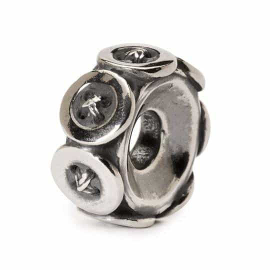 Trollbeads Buttons silver bead for modern charm bracelet with silver buttons going all around the bead