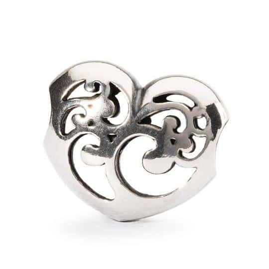 Trollbeads silver bead in openwork heart shape for modern charm bracelet