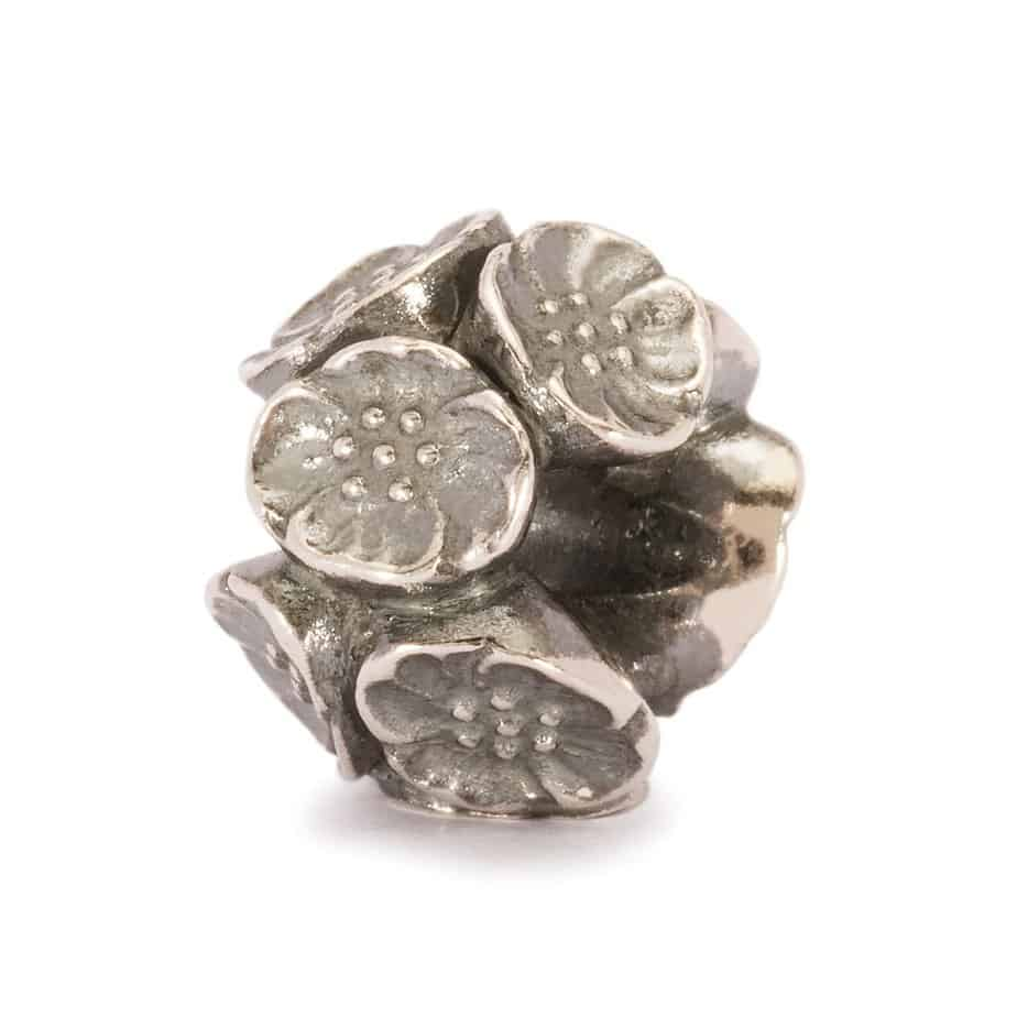 Trollbeads silver Cherry Blossom charm Bead for modern charm bracelet