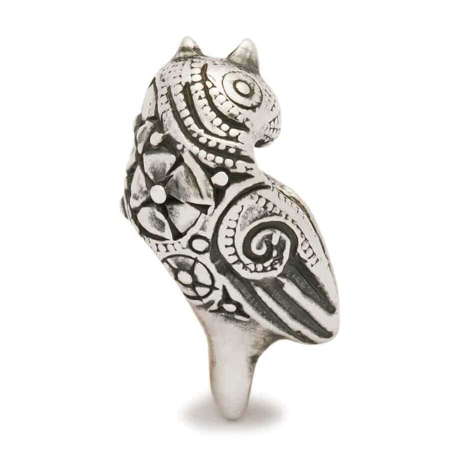 Trollbeads silver bead for modern charm bracelet in the image of a beautifully decorated bird