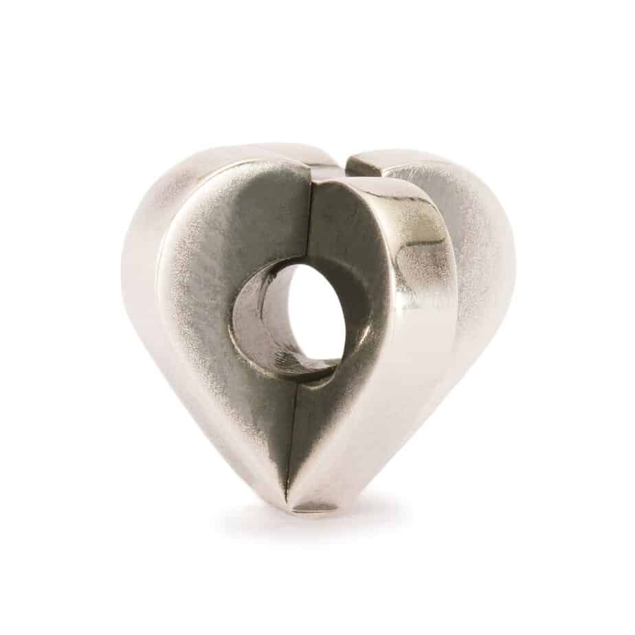 Trollbeads silver charm bead for modern charm bracelet with two pieces which slot together to make a heart shape