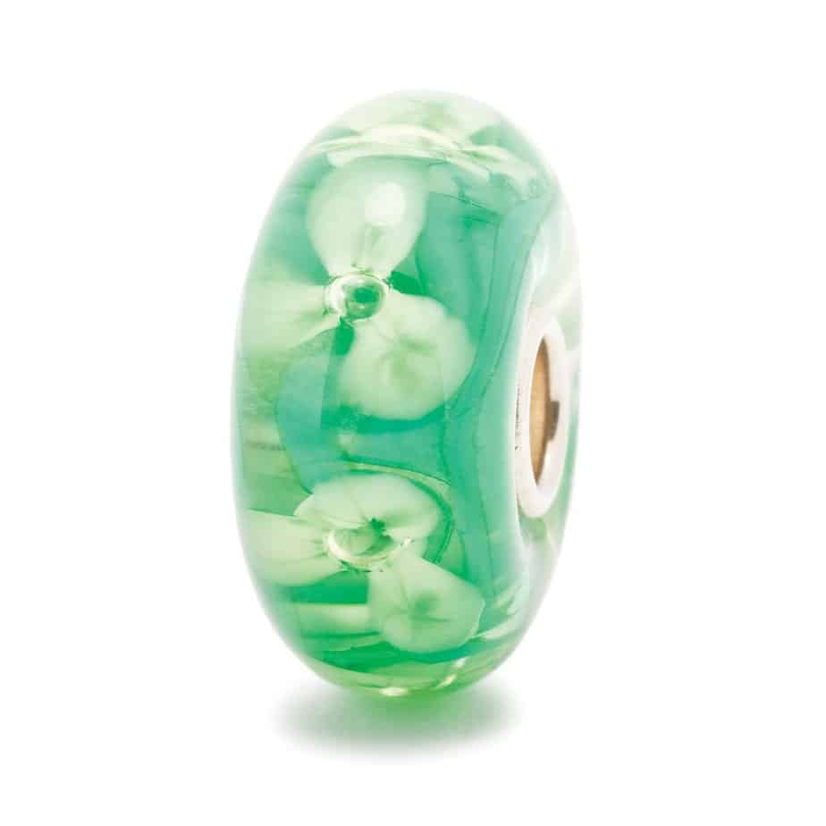 Trollbeads glass charm bead for modern charm bracelet in deep green with pale green flowers