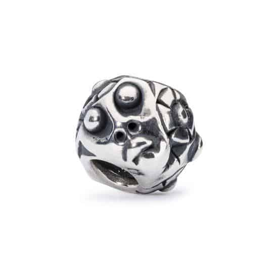 Trollbeads Guardian of Nature silver bead with funny faces on it's surface