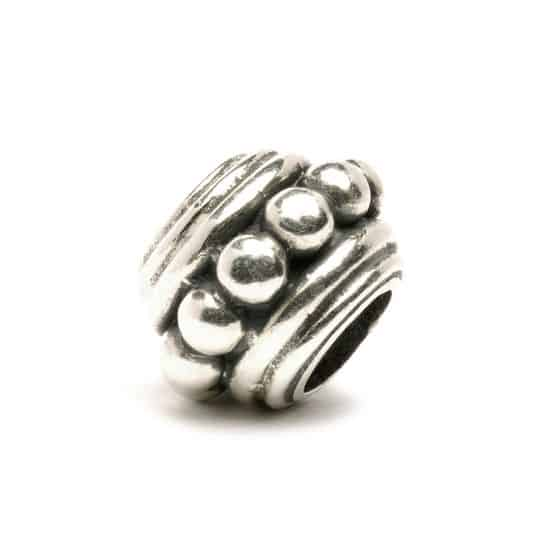 Trollbeads Silver charm Bead with central panel of dots called Harmony for a modern charm bracelet