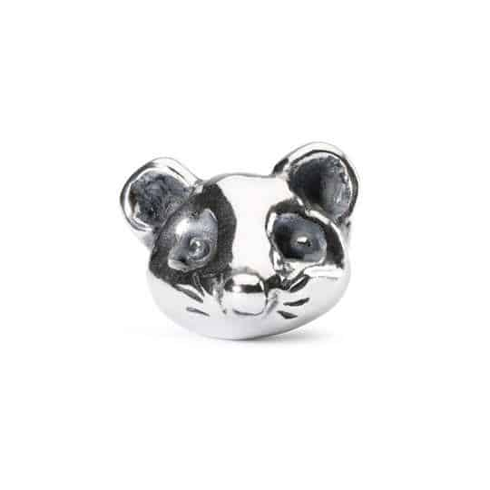 The Trollbeads Impulsive Mouse silver bead of a little mouse's head for a modern charm bracelet