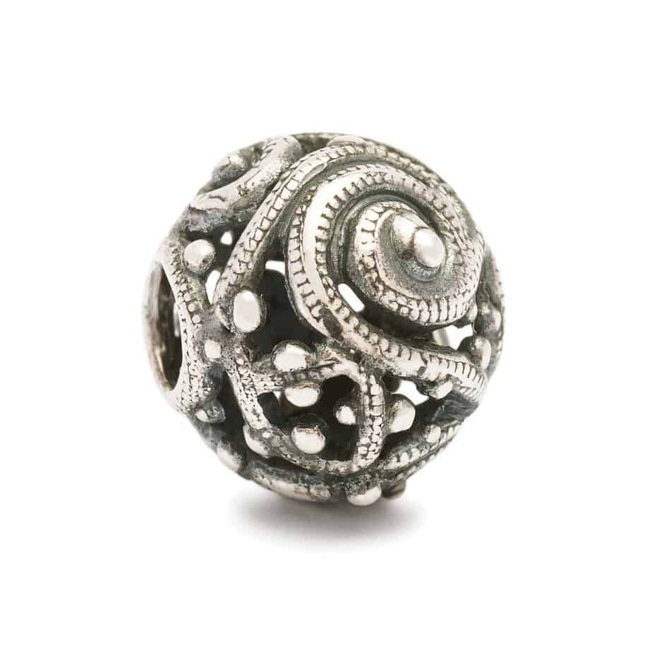 Trollbeads silver bead with swirls and engraving