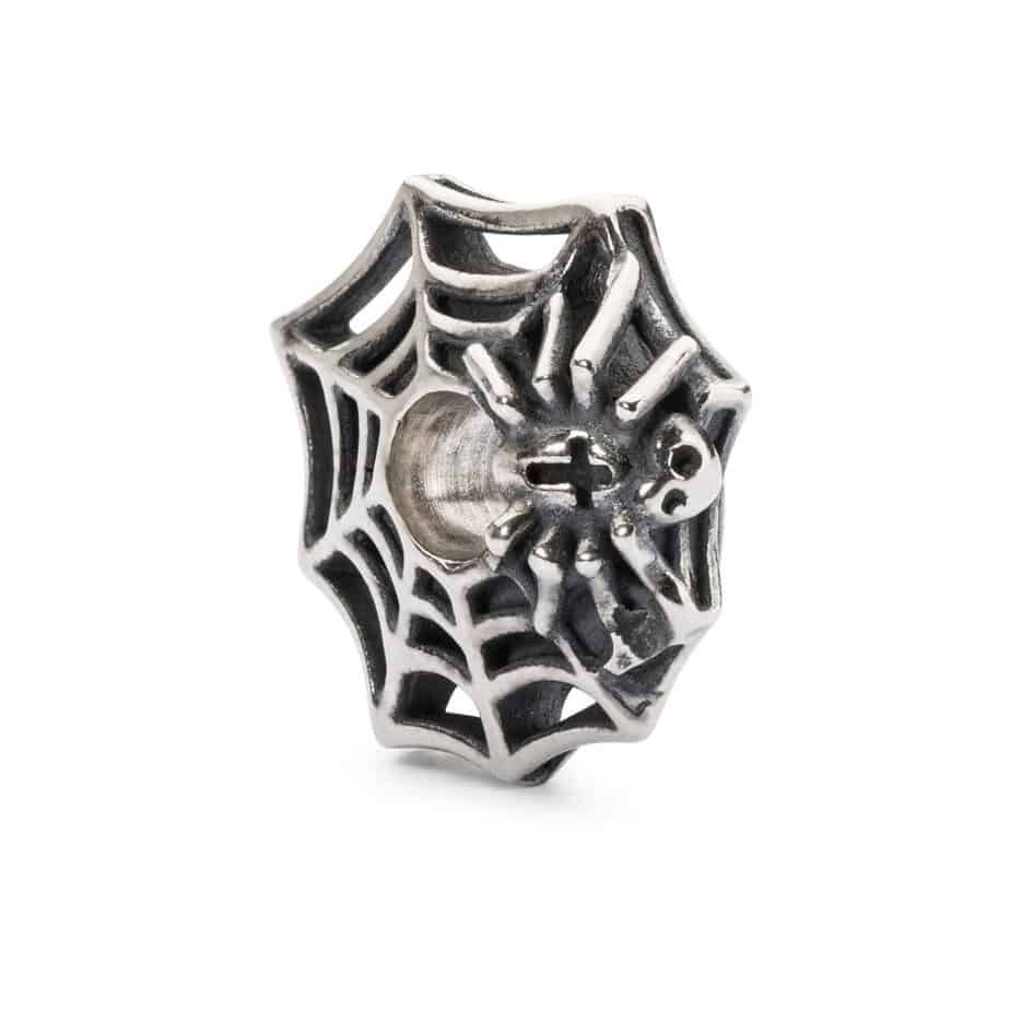Trollbeads silver bead for modern charm braclet with spiders web and spider in