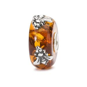 Trollbeads Amber charm bead with Two silver fly's perched on the bead