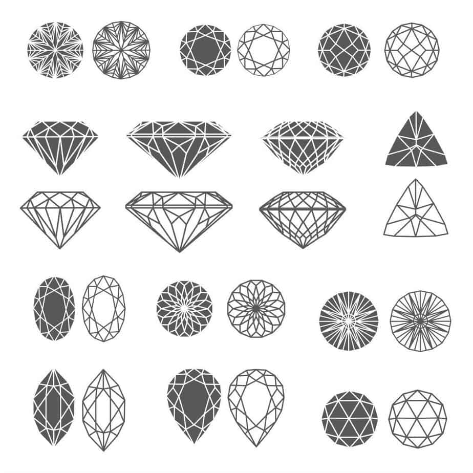 Diagram of gemstones with pattern of facets cut into the stone