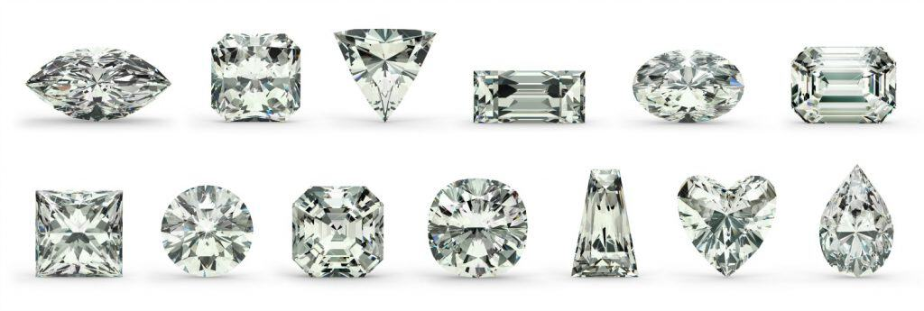 Diamonds cut into different shaped stones