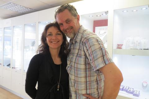Man and Woman posing for camera in Carathea jewellers and Jools store